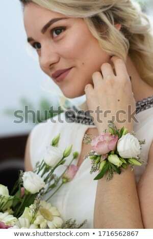 Freshness - attractive bride blonde, fresh colorful flowers Stock photo © gromovataya
