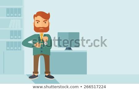 Boos zakenman naar tijd gezicht werken Stockfoto © photography33