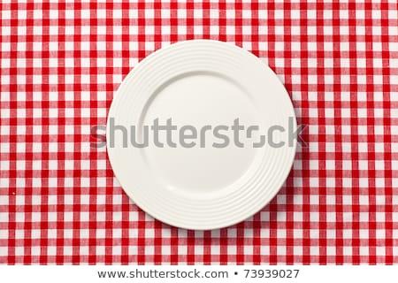 masa · örtüsü · model · kırmızı · beyaz - stok fotoğraf © stevanovicigor