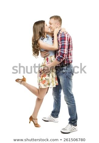 retrato · jovem · beijando · casal · isolado · branco - foto stock © acidgrey