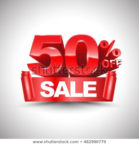 50 · pourcentage · vente · rouge · bannière - photo stock © marinini