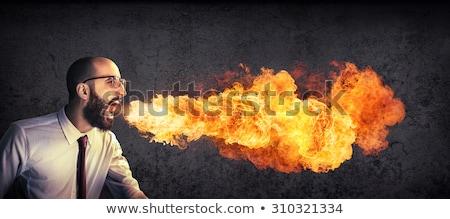 Tűz lélegzet rajz üzletember férfi öltöny Stock fotó © blamb