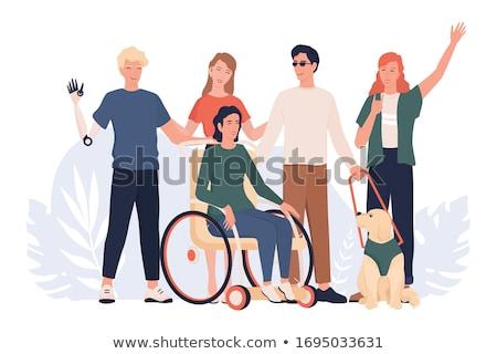 özürlü kadın tekerlekli sandalye mutlu yeşil çayır Stok fotoğraf © iko