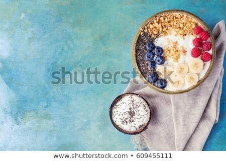 frambuesa · yogurt · postres · metal · bandeja · azul - foto stock © rob_stark