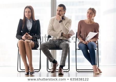 Sala di attesa intervista donna ufficio telefono laptop Foto d'archivio © photography33