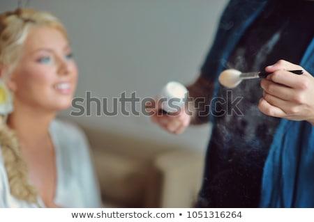 Szexi szőke nő fekete ruha ül fehér Stock fotó © dash