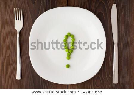 ünlem işareti bezelye plaka beyaz diyet sağlık Stok fotoğraf © vankad