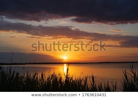 Narancs naplemente tó tájkép szabadidő üdülőhely Stock fotó © Roka