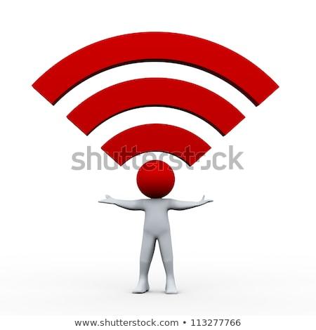 3d man wifi icon man technologie teken Stockfoto © almir1968
