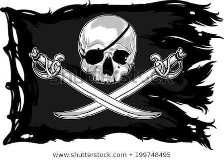 Zászló csónak halál fekete fej szél Stock fotó © c-foto