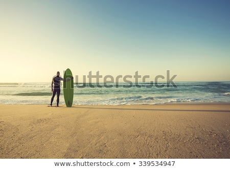 surfista · viendo · olas · puesta · de · sol · Portugal · agua - foto stock © homydesign
