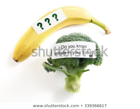 Desconocido alimentos mujer comer signos de interrogación blanco Foto stock © stevanovicigor