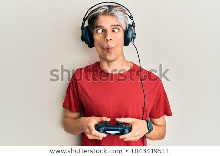 portré · férfi · készít · vicces · arc · férfi · stréber - stock fotó © gemenacom