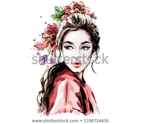 Güzel bir kadın kumaş güzel kırmızı kız moda Stok fotoğraf © prg0383