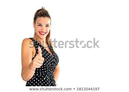 mooie · meisje · duim · teken · succes - stockfoto © alexandrenunes