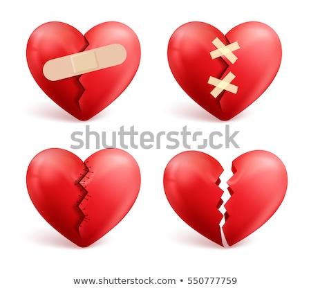 Bandaj kırık kırmızı kalp beyaz Stok fotoğraf © AndreyPopov