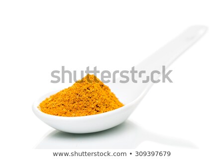 Curry por porcelán kanál fűszer fehér Stock fotó © fotoquique