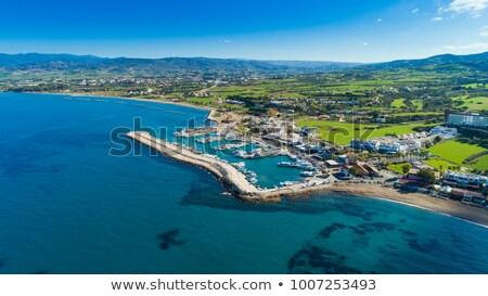 ストックフォト: 釣り · ボート · 港 · キプロス · 家 · 海