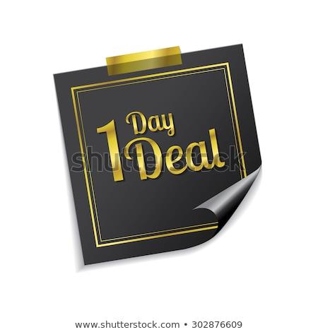 Dag deal gouden sticky notes vector icon Stockfoto © rizwanali3d