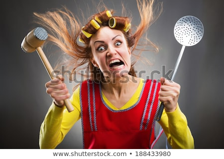 Foto d'archivio: Arrabbiato · Crazy · casalinga · capelli · guardare · faccia