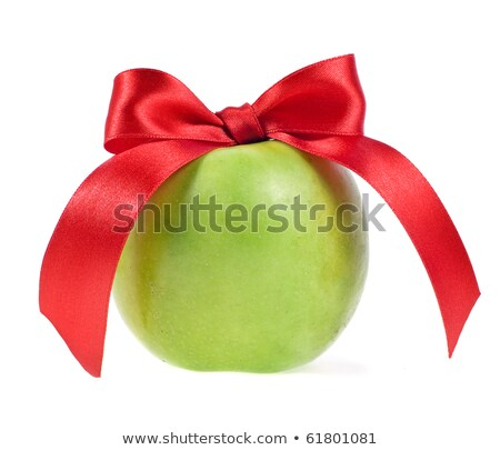 Friss zöld alma piros íj izolált Stock fotó © tetkoren
