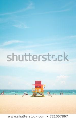 マイアミ ビーチ ライフガード カラフル 住宅 青空 ストックフォト © lunamarina