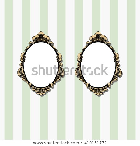 Twee ovaal frames frame bladeren donkere Stockfoto © Onyshchenko