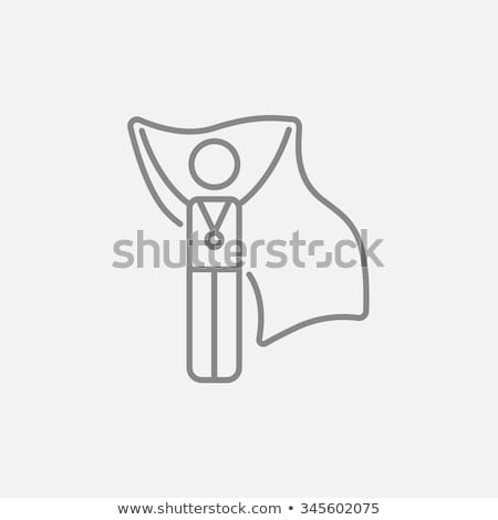 Stock photo: Medalist standing with flag line icon.