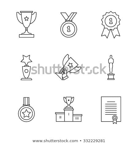 Winnaars podium lijn icon web mobiele Stockfoto © RAStudio