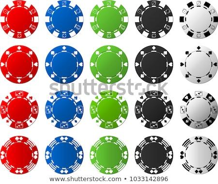 linha · pôquer · jogos · de · azar · batatas · fritas · cartões · verde - foto stock © pokerman