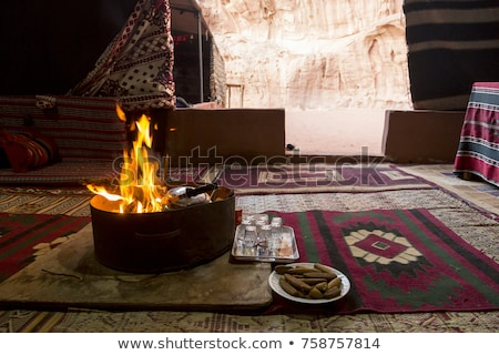 tent on camping with fire and cooking equipment Stock photo © compuinfoto