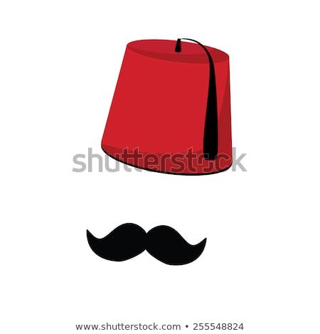Türk şapka kumaş kırmızı renk elbise Stok fotoğraf © zurijeta