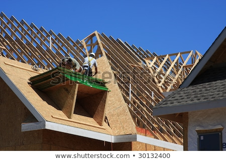 Condo construction with workers on the roof frame Stock photo © zurijeta