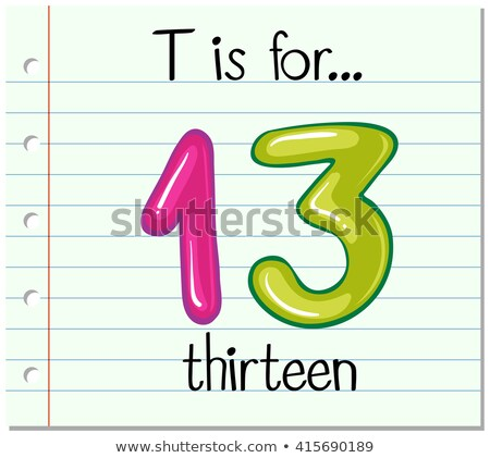 Flashcard letter T is for thirteen Stock photo © bluering