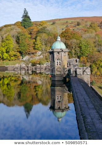 Pen Y Garreg reservoir dam autumn tree colours reflections. Stock photo © latent
