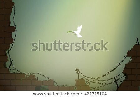 dove with peace sign on the barbed wire Stock photo © adrenalina