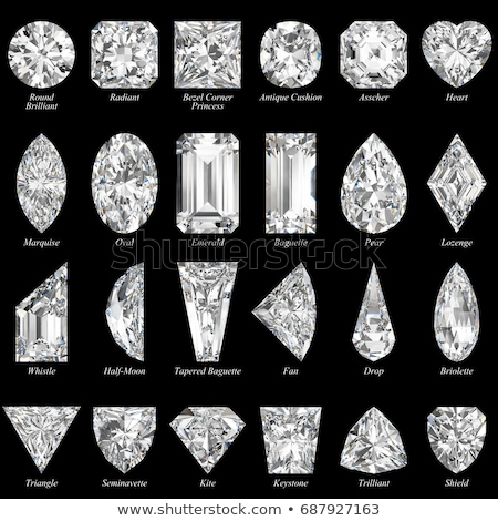 top view of trillion and princess cut diamond on black stock photo © arsgera