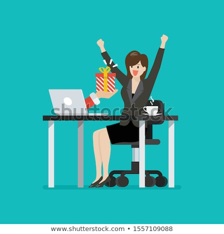 business woman with gift stock photo © deandrobot