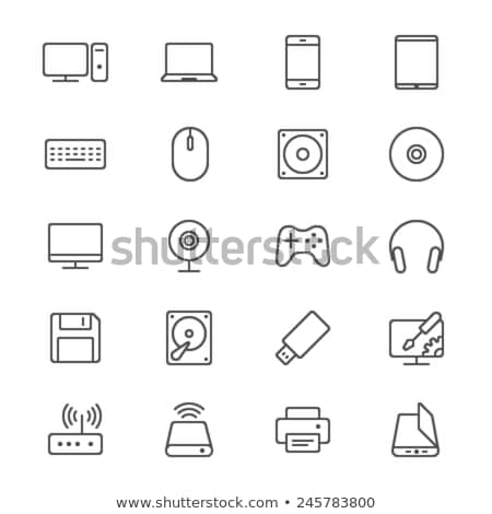 hard drive disk line icon stock photo © rastudio