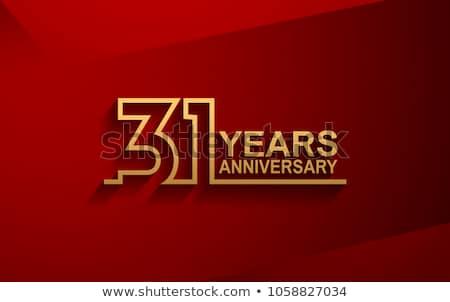 Aniversario celebración placa etiqueta dorado color Foto stock © SArts