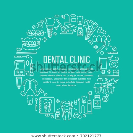 стоматолога медицинской баннер вектора линия икона Сток-фото © Nadiinko