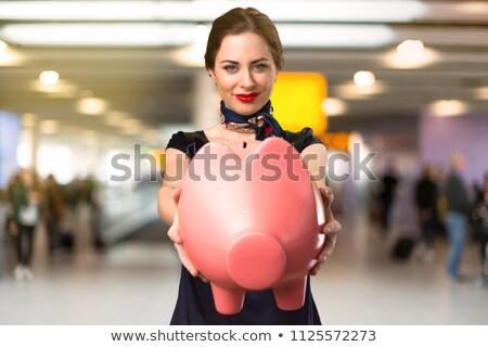 幸せ 白人 スチュワーデス お金 興奮した ストックフォト © RAStudio