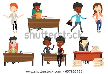 bankrupt business woman vector illustration stock photo © rastudio