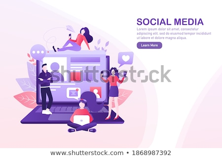 Vector flat style concept of social network and people comunicat Stock photo © curiosity