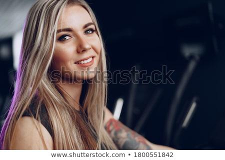 mulher · sexy · preto · cachecol · sensual · loiro · menina - foto stock © bartekwardziak