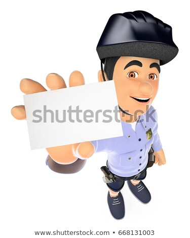 3d police in shorts with a blank card stock photo © texelart