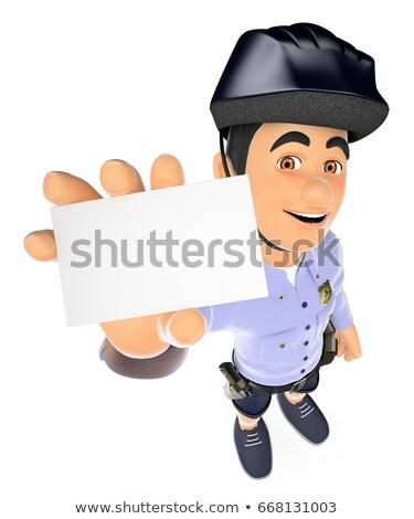 3D rendőrség rövidnadrág üres kártya biztonság erők Stock fotó © texelart