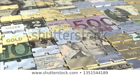 Stock photo: Gold puzzle dollar sign