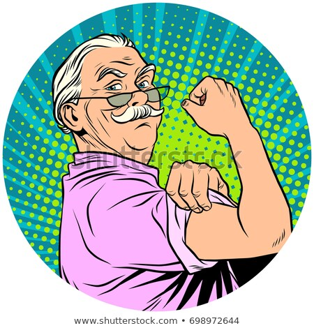 we can do it old man retired pop art avatar character icon Stock photo © studiostoks