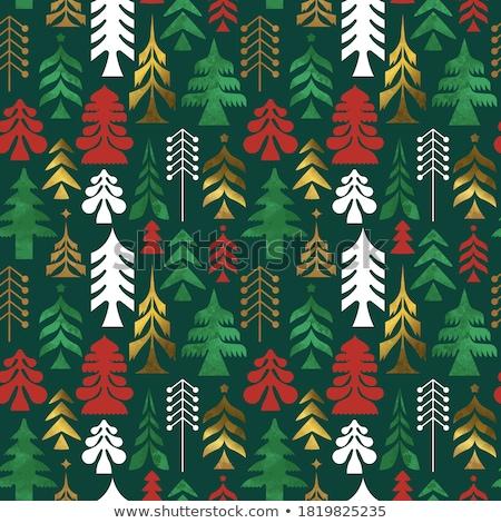 Christmas folk red seamless vector pattern, Scandinavian folk art, reindeer, birds and flowers decor Stock photo © RedKoala